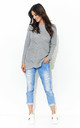 Long Sleeve Jumper with Loose Knit in Light Grey by Makadamia