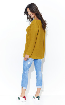 Long Sleeve Jumper with Loose Knit in Mustard by Makadamia