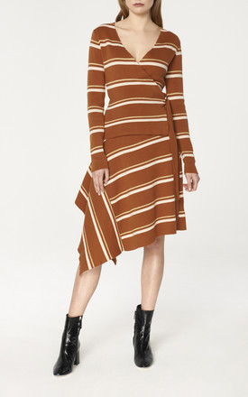 Striped Asymmetric Skirt with Side Drape in Brown, Gold and White by Paisie