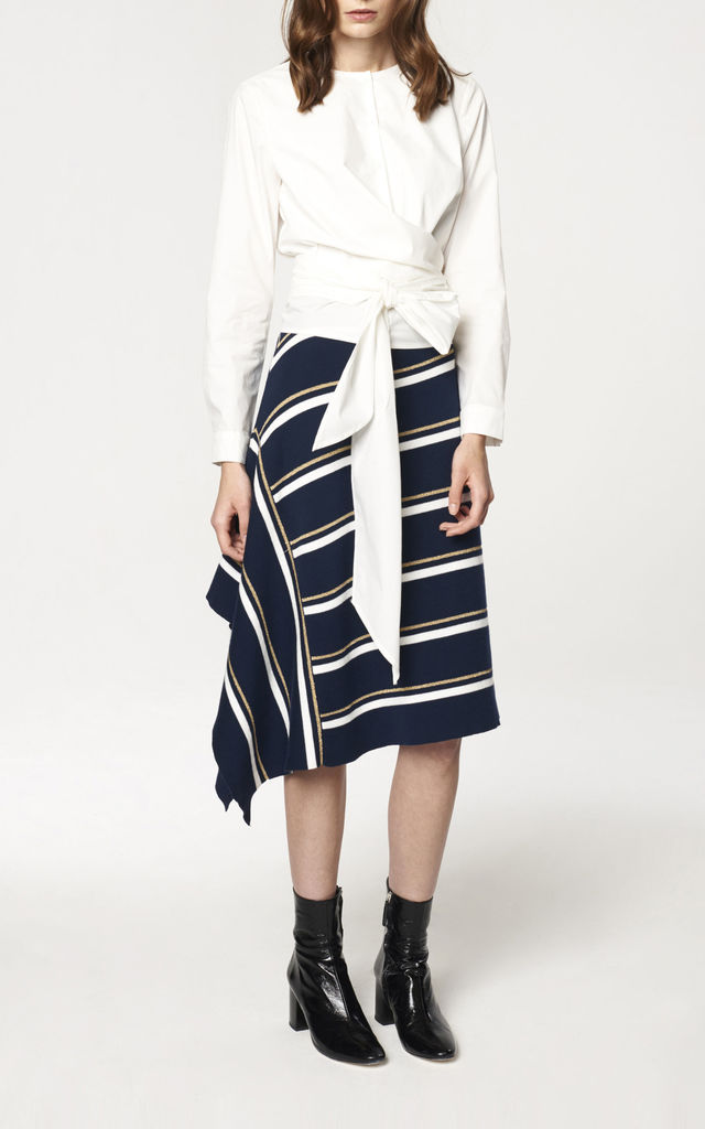 Striped Asymmetric Skirt with Side Drape in Navy, Gold and White by Paisie