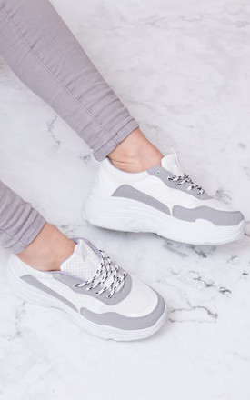 TOUCAN Chunky Block Colour Trainers Shoes - Grey Leather Style by SpyLoveBuy