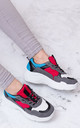 TOUCAN Chunky Block Colour Trainers Shoes - Red Leather Style by SpyLoveBuy