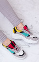 TOUCAN Chunky Block Colour Trainers Shoes - Yellow Leather Style by SpyLoveBuy
