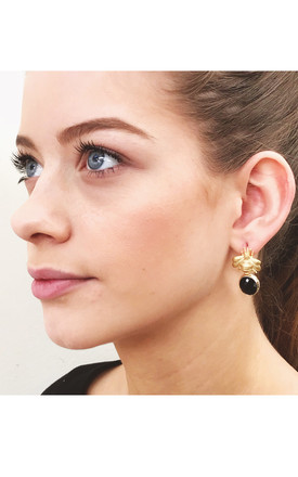 THE 'QUEEN BEE' PENDANT EARRINGS - BLACK by BLESSED LONDON