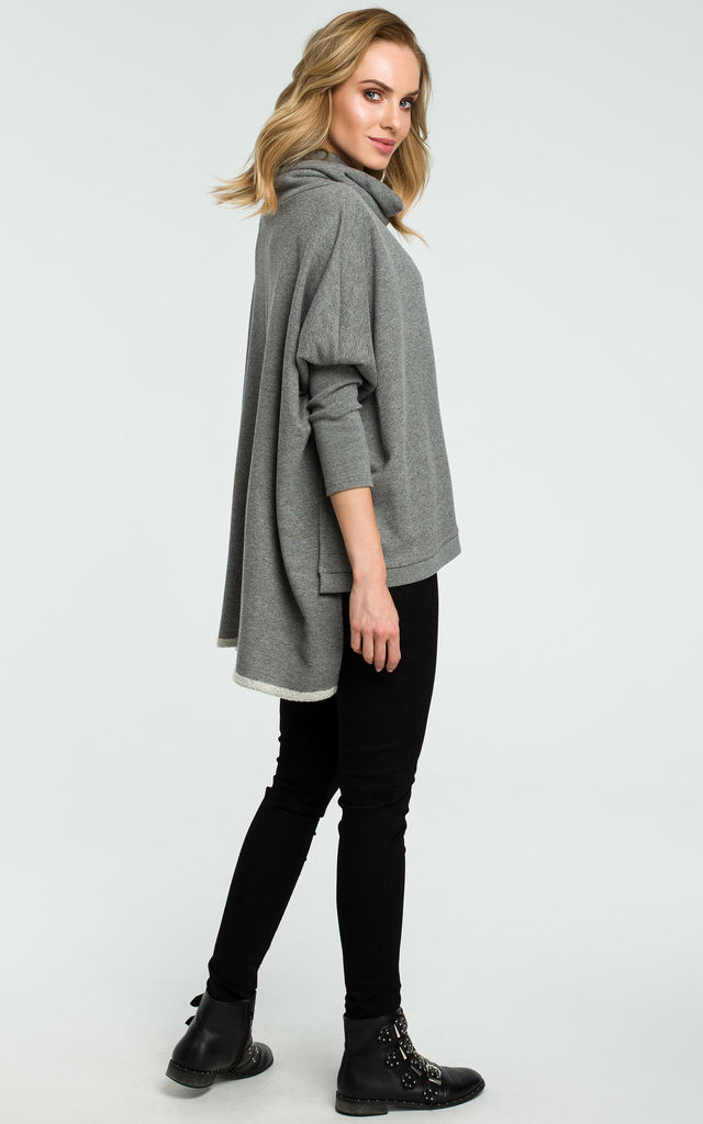 Grey Oversized Side Slits Turtleneck Sweater by MOE
