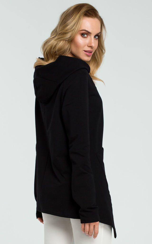 Black Asymmetric Hoodie With Big Pocket by MOE
