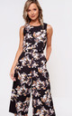 Layla Floral Longline Jumpsuit in Black by Marc Angelo