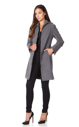 Jessica Mid Grey Hooded Zip Coat by De La Creme Fashions