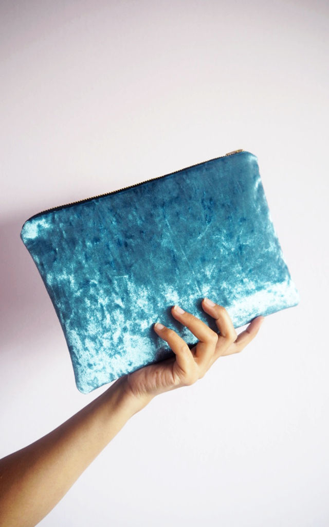 Velvet Clutch Bag in Blue by Suki Sabur Designs
