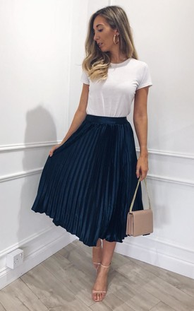 Elsa Pleated Metallic Midi Skirt - Navy by Pretty Lavish