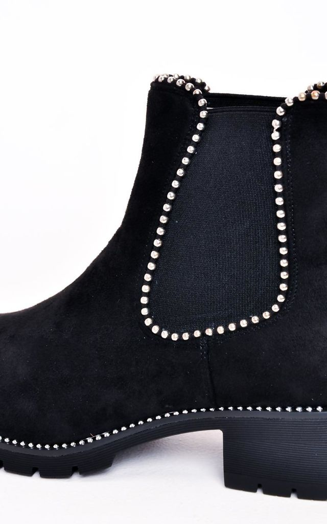 Faux Suede Chunky Studded Chelsea Ankle Boots Black by LILY LULU FASHION