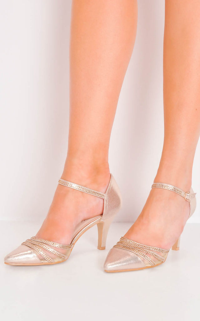 71304322246e Diamante Mesh Embellished Kitten Court Heels Rose Gold by LILY LULU FASHION