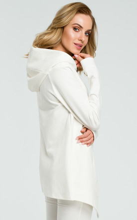 Hooded sweater With oversized Pocket in white by MOE