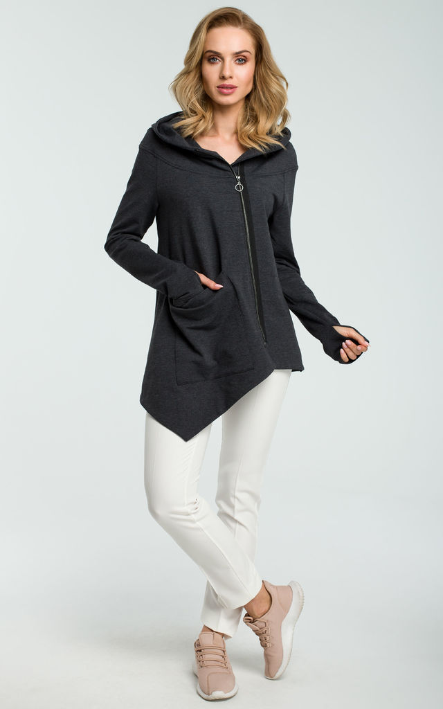 Graphite Asymmetric Hoodie With Big Pocket by MOE
