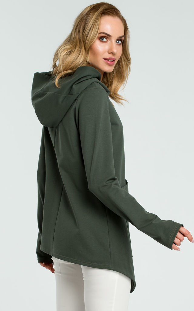 Khaki Asymmetric Hoodie With Big Pocket by MOE