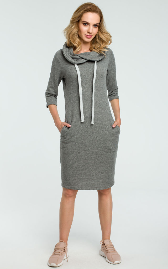 Grey Fitted Sporty Dress by MOE