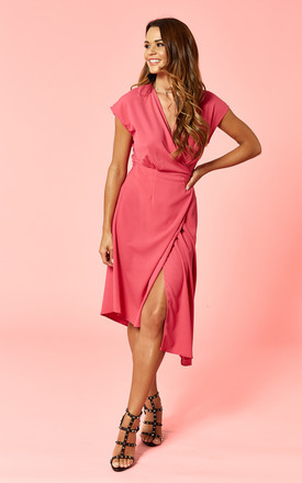 Hot Pink Wrap Midi Dress by Glamorous Product photo
