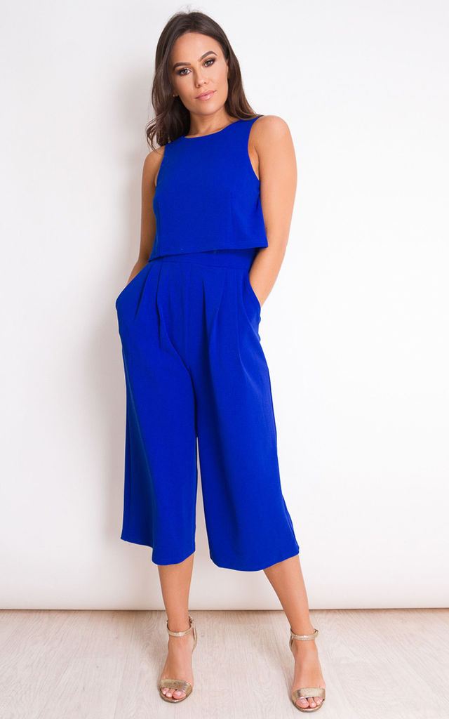 0a070fe149878 Lexie Sleeveless Layer Culotte Jumpsuit Cobalt | Girl In Mind | SilkFred