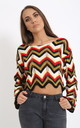 Multi Red Coloured Cropped Knitted Jumper by PRETTY AND PARTY