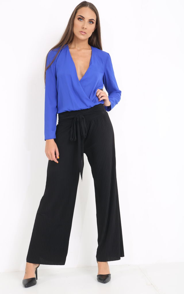 ff894214 Black Belted Pleated Trouser | PRETTY AND PARTY | SilkFred