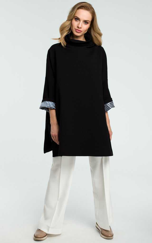 Black Oversized Turtleneck Sweater With Checked Hem On Sleeves by MOE