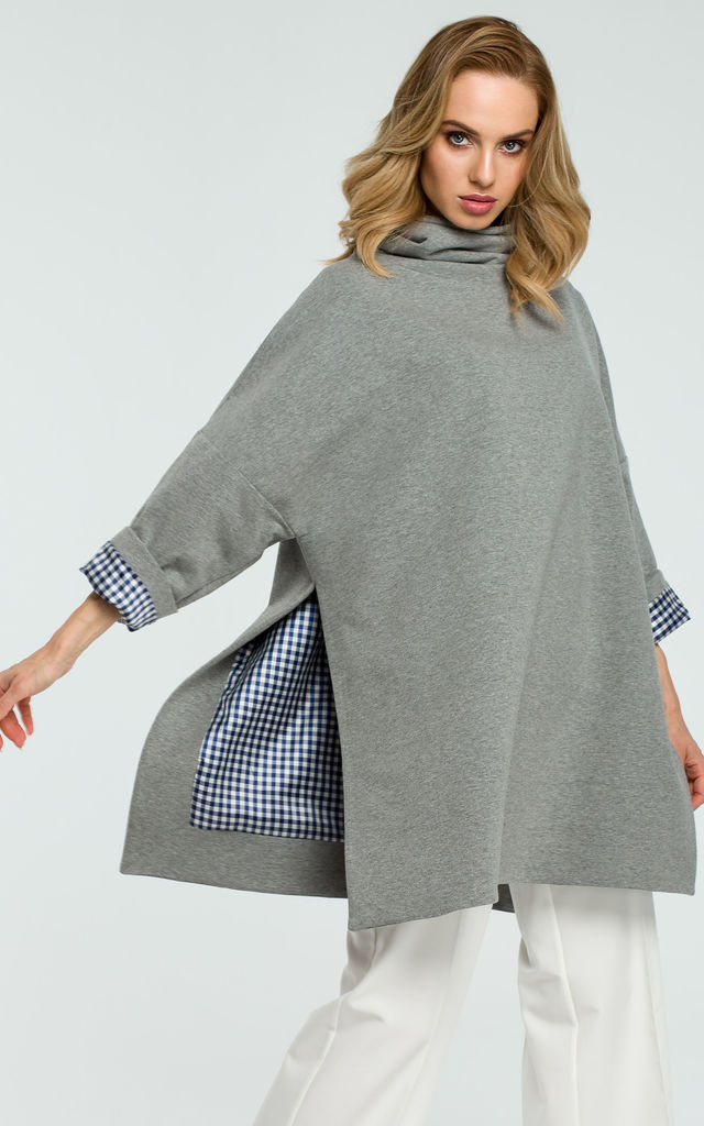 Grey Oversized Turtleneck Sweater With Checked Hem On Sleeves by MOE