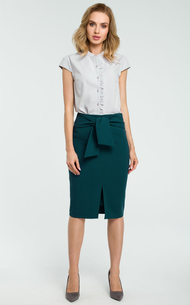 Green Tie Front Slit Pencil Skirt by MOE