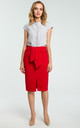 Red Tie Front Slit Pencil Skirt by MOE