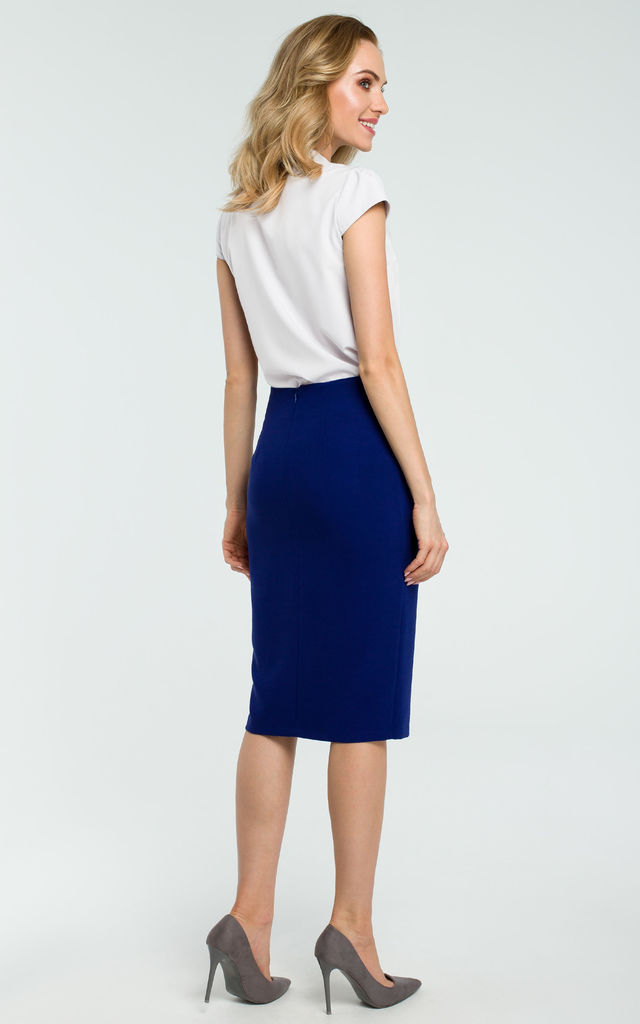 Royal Blue Tie Front Slit Pencil Skirt by MOE
