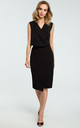 Black Faux Wrap Asymmetric Dress by MOE