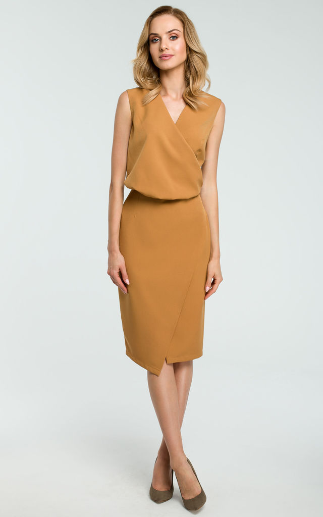 Mustard Faux Wrap Asymmetric Dress by MOE