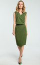 Green Faux Wrap Asymmetric Dress by MOE