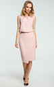 Powder Pink Faux Wrap Asymmetric Dress by MOE