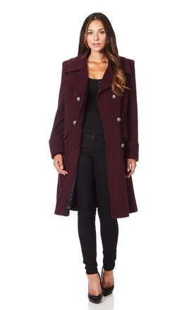 Katrina Wine Military Midi Coat by De La Creme Fashions Product photo