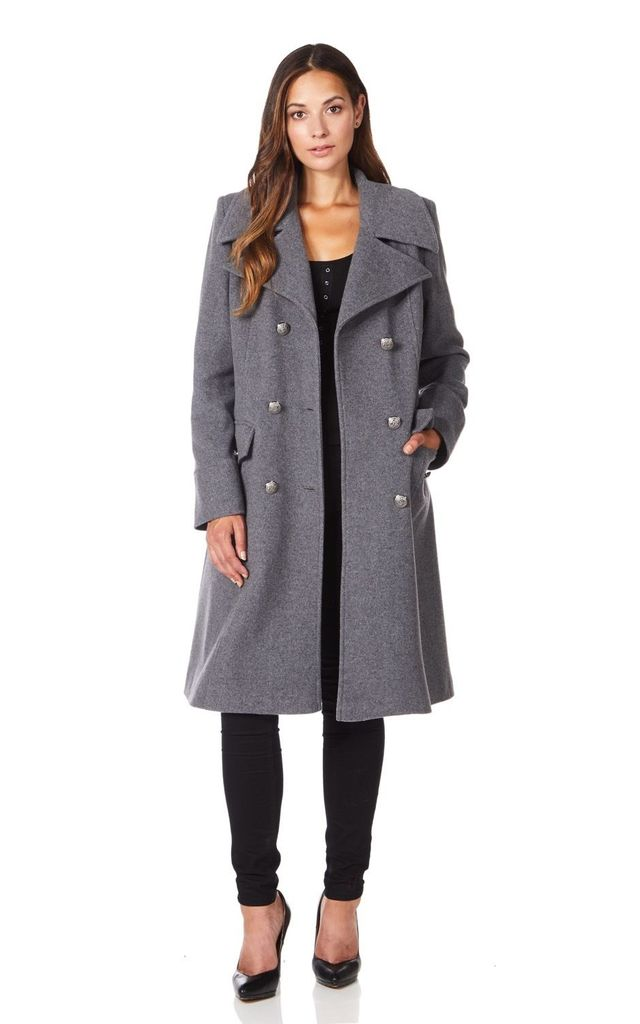 Katrina Mid Grey Military Midi Coat by De La Creme Fashions