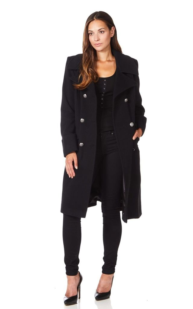 Katrina Black Military Midi Coat by De La Creme Fashions