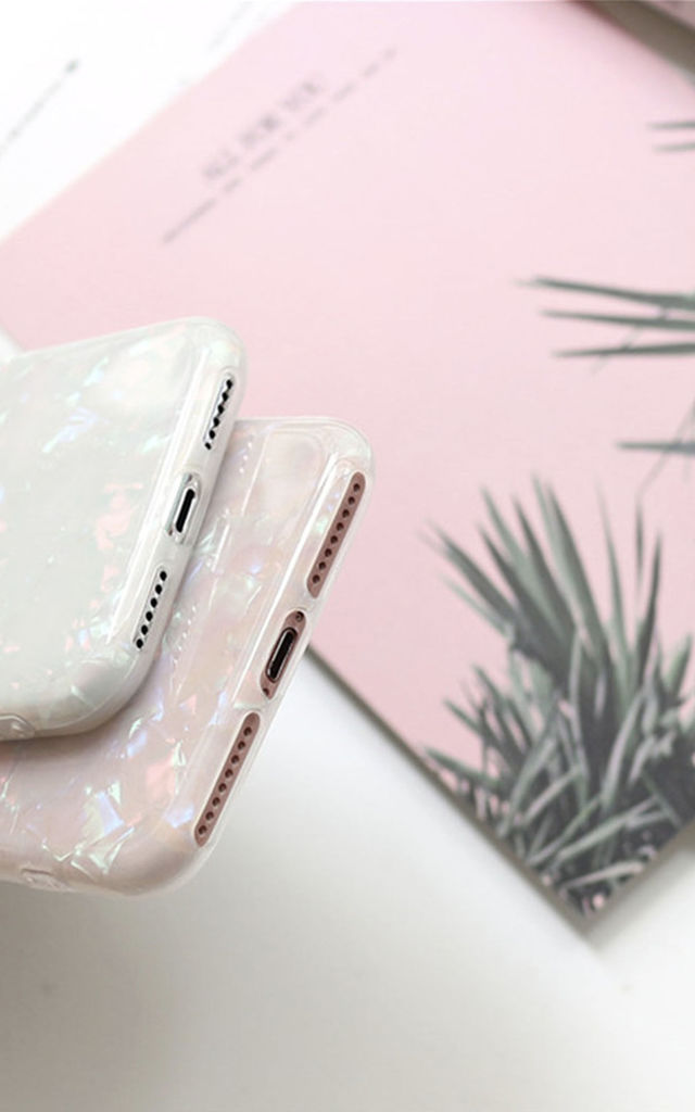 Isabel Iridescent Sparkle Glitter Pink and White Fleck iPhone 8 by Ajouter Store