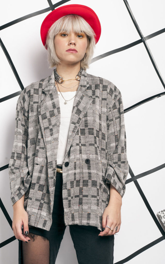 Noise blazer - 80s vintage grey jacket by Pop Sick Vintage