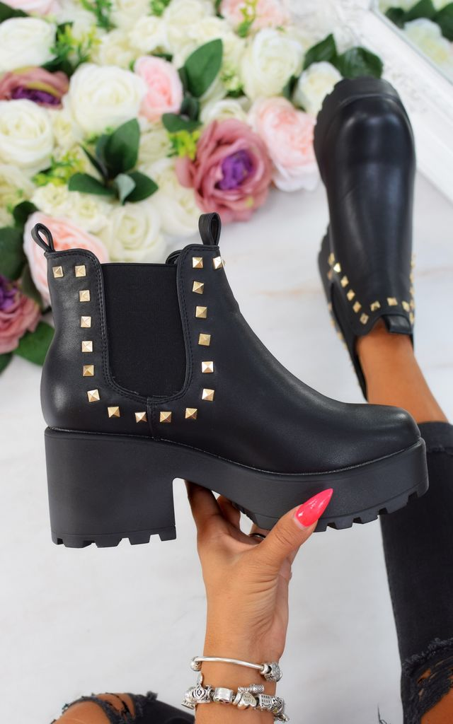 Chunky Platform Pyramid Studded Chelsea Boots - Black by AJ | VOYAGE