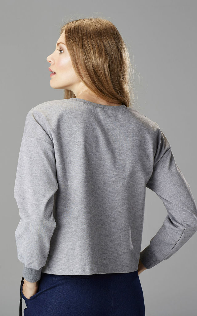Grey Marl Lace Detail Sweatshirt by Very Stylish Girl