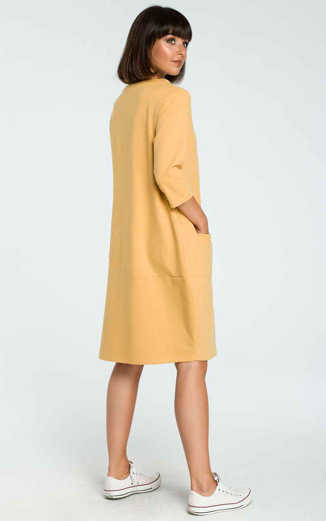 Yellow 3/4 Sleeve Oversized Midi Dress by MOE