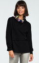 Black Sweatshirt With Patterned Collar by MOE