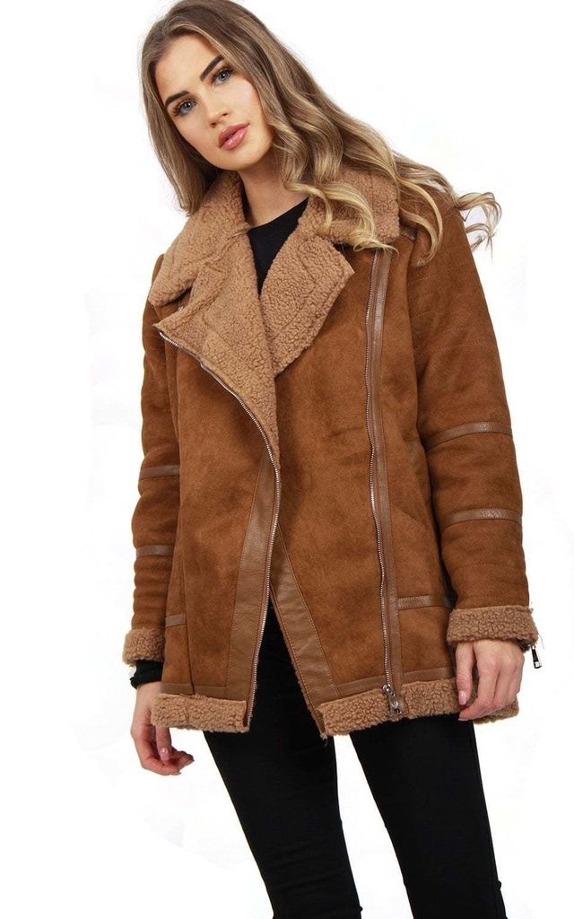f65cfb0085d97 Camel Oversized Faux Suede Borg Lined Shearling Aviator Jacket Coat by  Urban Mist