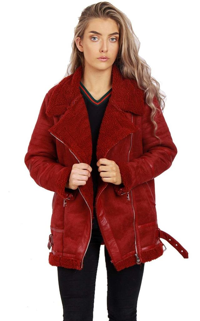 d4c1a277a9b49 Burgundy Oversized Faux Suede Borg Lined Shearling Aviator Jacket Coat by  Urban Mist
