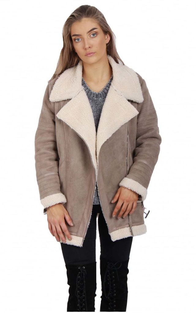 Mocha Oversized Faux Suede Borg Lined Shearling Aviator Jacket Coat by Urban Mist