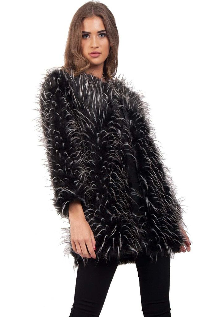 Black and White Spike Faux Fur Shaggy Coat Jacket by Urban Mist