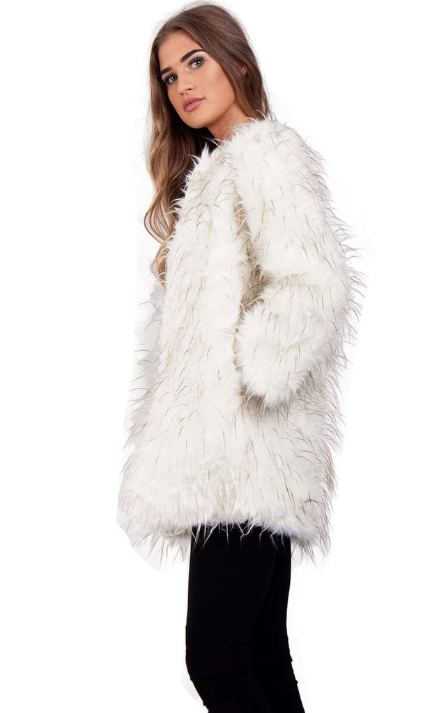 White Spike Faux Fur Shaggy Coat Jacket (Variant) by Urban Mist