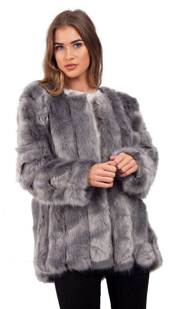 0c1477488e53 Grey Leather Panelled Fluffy Faux Fur Coat Jacket | Urban Mist ...