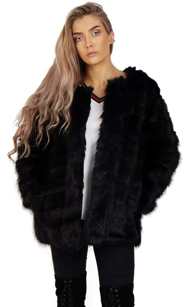 4282e365e9 Black Leather Panelled Fluffy Faux Fur Coat Jacket | Urban Mist ...