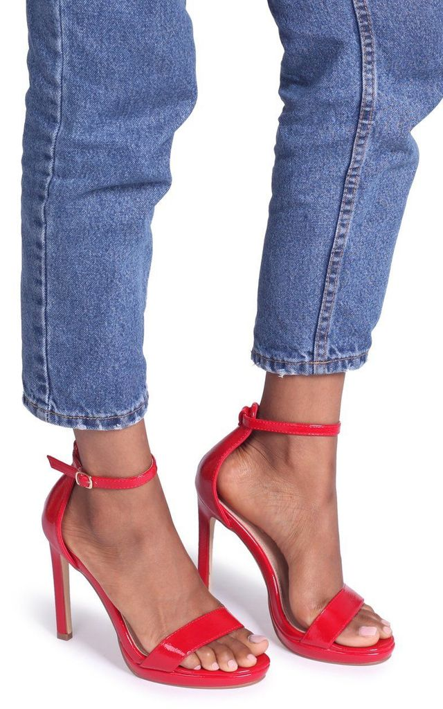 Gabriella Barely There Stiletto Heels in Red Patent by Linzi